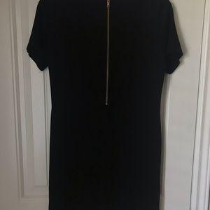 Olivaceous Dresses - Black short sleeve shift dress with gold zipper!